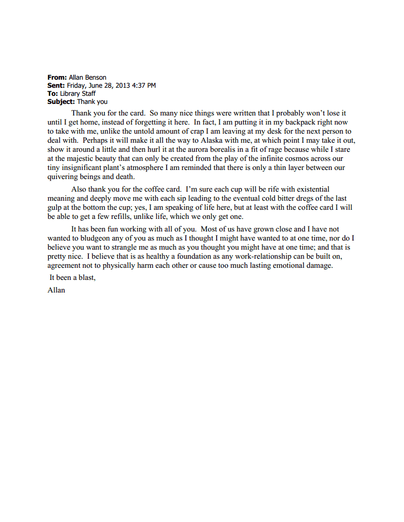 A Thank You Letter